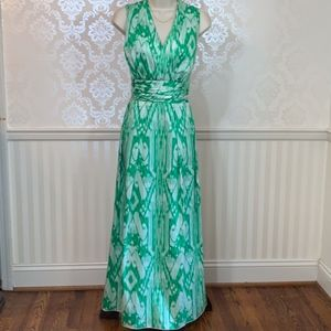 Ellen Tracy Green Watercolor Sleeveless Maxi Dress